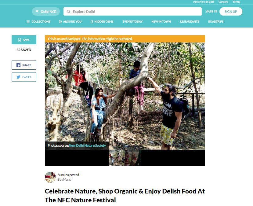 let's celebrate nature with new delhi nature society ngo. Shop organic & enjoy delish food at NCF Nature festival
