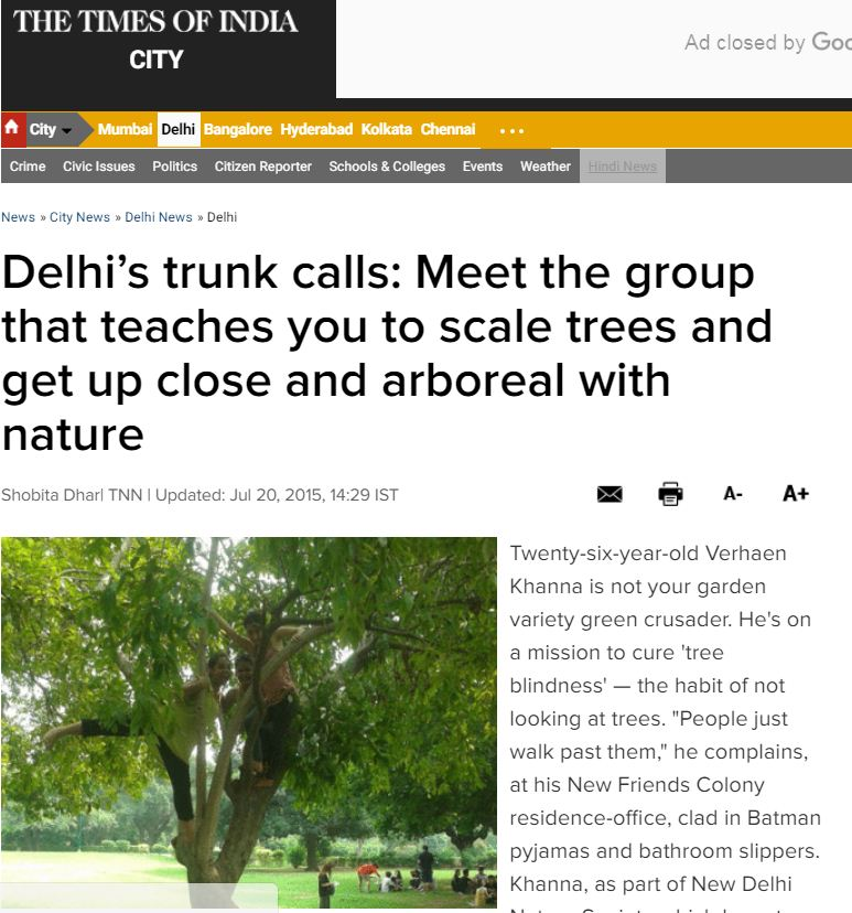 Delhi's trunk calls, Join NDNS NGO and learn to scale trees and save environment