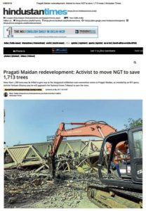 environment clearance for pragati maidan redevelopment challenged at NGT. Volunteer with NDNS to expose such orders