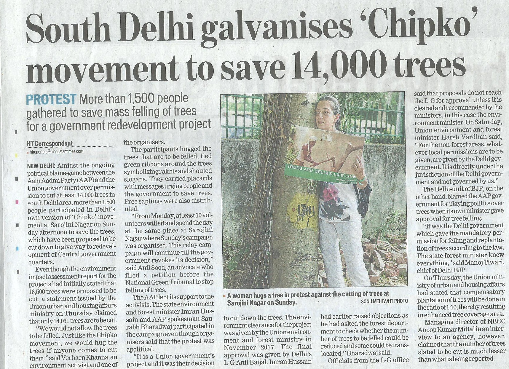 South delhi's chipko movement saved 14000 trees, save trees campaign by new delhi nature society
