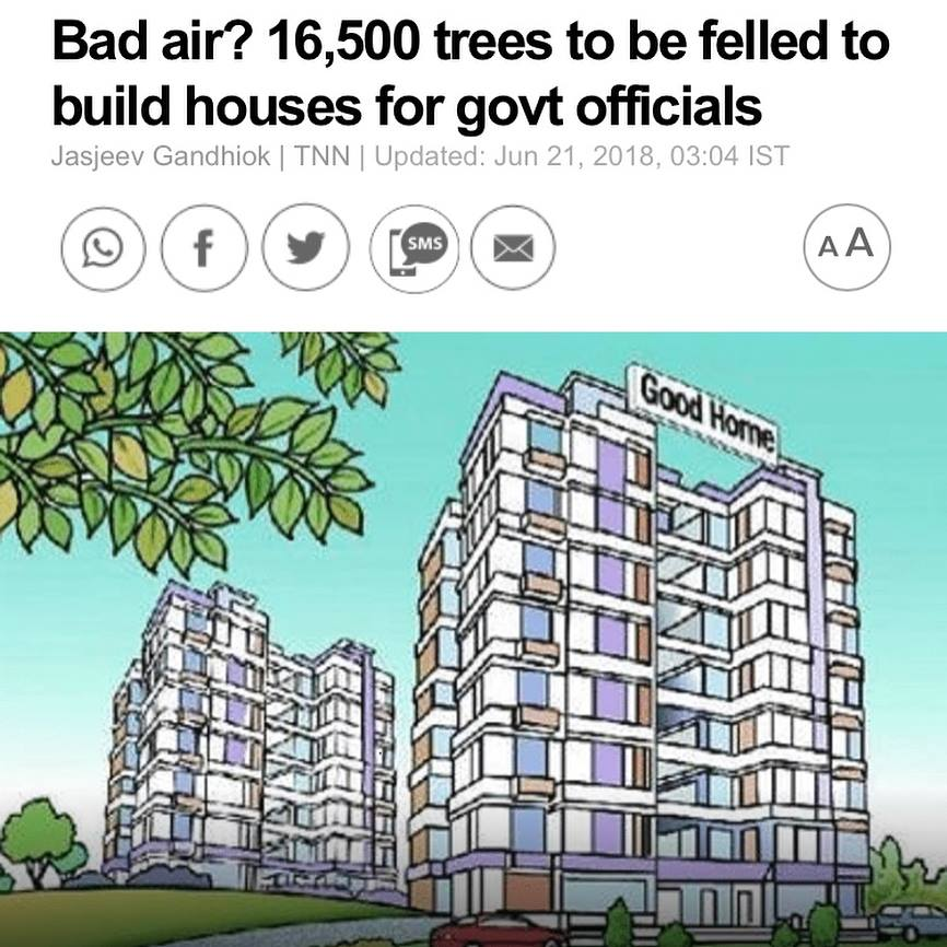16000 trees to be felled to build houses for govt officials. save tress breathe clean air initiative by ndns