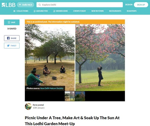 Picnic under a tree, make art or soak up the sun at lodhi garden with new delhi nature society