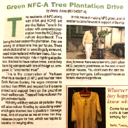 Trees & saplings Plantation drive in delhi by new delhi nature society ngo. come volunteer with us