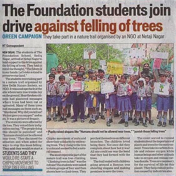 HT foundation school. school students come forward and joinds hands against tree felling. protect environment, new delhi nature society