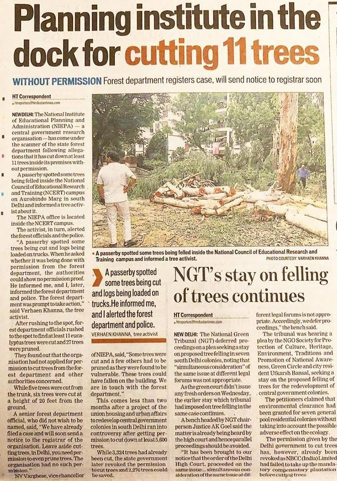 Planning institute cuts down 11 trees. Exposed by media and new delhi nature society